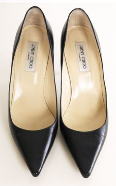 Jimmy Choo Classic Black Leather Pointed Toe Pumps