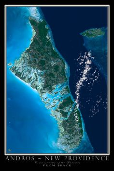 Andros Islands Bahamas From Space Satellite Art Poster