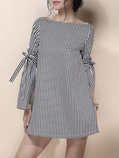 Shop Mini Dresses - Casual A-line Stripes Long Sleeve Mini Dress online. Discover unique designers fashion at StyleWe.com.
