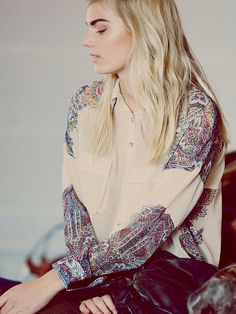 Free People Awash In Paisley Buttondown