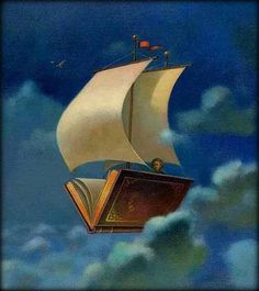 There is no frigate like a book to take you lands away - Emily Dickinson; I remember this poem from my childhood I Love Books, Good Books, Books To Read, My Books, Images Gif, Reading Art, World Of Books, Book Illustration, Book Lovers