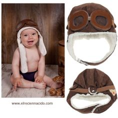 Gorro aviador para bebé Divertido gorro de aviador para sacar unas fotos impresionantes a tu bebé. El gorro esta forradito por dentro y tiene incorporadas unas gafas con cristales de plastico para que sea seguro para el niño. 16,50 €