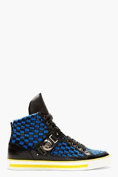 Versace Black Blue Woven High-top Sneakers for men | SSENSE