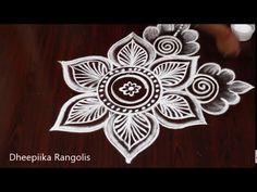Simple Daily Kolams without dots | Easy flower Rangoli | Karthika masam Muggulu | EasyRangolis - YouTube