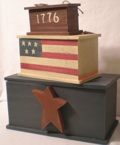 Rustic Americana Decor | Details about Americana Stacking Boxes Patriotic Rustic decor