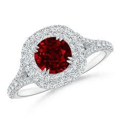 Angara Secured Prong Natural Ruby and Diamond Double Halo Ring qO42Rpnjc