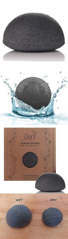 Bath Brushes and Sponges: 100 Units Bulk Bamboo Charcoal Konjac Sponge Facial Cleansing Natural Exfoliator BUY IT NOW ONLY: $250.0