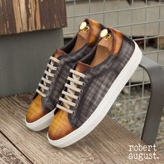 The Trainer in Raw Crust Italian Leather with a Cognac and Grey Hand Patina Finish - Robert August Apparel Bespoke Shirts, Custom Design Shoes, Patina Finish, Mens Trends, New Shoes, Shoes Men, Luxury Shoes, Italian Leather, Calf Leather