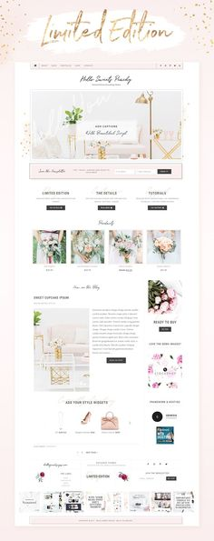 A feminine Wordpress theme for your blog, beautiful template design from Hello You Designs