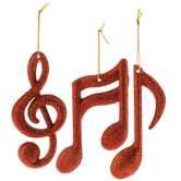 Red Music Notes & Treble Clef Ornaments