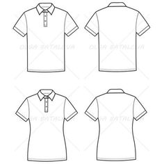 Fashion Drawing Women's And Men's Polo T-Shirt Fashion Flat Templates - Front and back fashion illustration of men's and women's basic polo t-shirts Fashion Sketch Template, Fashion Design Template, Fashion Templates, Fashion Design Jobs, Fashion Design Drawings, Fashion Sketches, T Shirt Sketch, Shirt Drawing, Flat Drawings