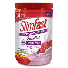 SlimFast Advanced Nutrition Mixed Berry Yogurt Smoothie with 20 Grams of Protein per Serving, 11.01 Ounce Powder