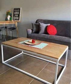 Mesa Ratona -mueble-  Hierro Madera Laqueada 90x50x40 - $ 2.300,00
