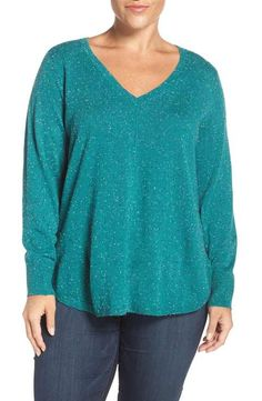 Caslon® Marled High/Low V-Neck Sweater (Plus Size)