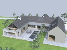 This house is located on an elevated site overlooking lough derg in the context . Bungalow House Design, Modern House Design, Modern Bungalow Exterior, House Designs Ireland, Steel Framing, Pole Barn Homes, Courtyard House, House Extensions, House Goals