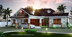 Beautiful Modern 3 Bedroom Villa Design and Free Plan in Kerala, Eye Catching Stunning Villa in Kerala for 33 Lakhs in 1663 Square Feet with Free Plan, Best Website in Kerala for Free House Plan Single Floor House Design, Modern House Floor Plans, House Front Design, Modern House Design, Villa Design, H Design, Roof Design, Design Ideas, Design Styles