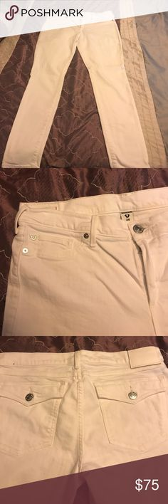True religion jeans White true religion Casey low rise super skinny jeans worn once has a stretch to them True Religion Jeans Skinny