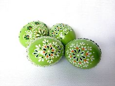 Items similar to Set of 4 light Green Hand Decorated Colours Painted Chicken Easter Egg, Traditional Slavic Wax Pinhead Chicken Egg, Kraslice, Pysanka on Etsy Eastern Eggs, Chicken Eggs, Farm Chicken, Egg Art, Egg Decorating, Holiday Ornaments, Christmas Cookies, Painted Rocks, Hand Painted