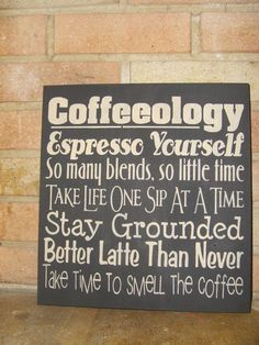 Kitchen COFFEEOLOGY, Hand Painted Primitive Wood Sign, Typography, Subway Art, Kitchen, Dawnspainting, Home Decor. $22.00, via Etsy.