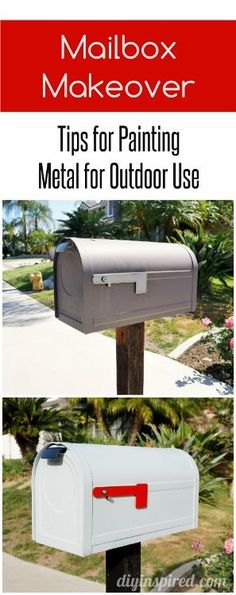 Easy weekend project to help with curb appeal- Mailbox makeover with tips for painting metal