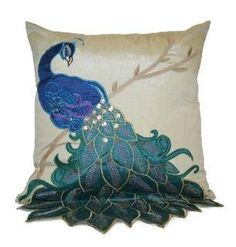 This peacock pillow is even more beautiful than the photo represents.Thro by Marlo Lorenz 4182 Fancy Peacock 16 by Pillow, Peacock Decor Bedroom, Peacock Bedding, Peacock Pillow, Peacock Theme, Peacock Design, Bedroom Decor, Peacock Nursery, Peacock Dress, Peacock Colors