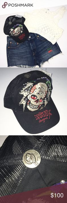 💀🆕 Ed Hardy ☻ Skull Bling SnapBack ☻ Trucker Hat Ed Hardy Tattoo Skull Bling SnapBack Trucker Hat in Black Adjustable SnapBack  Brand New with Tags  💀💀💀💀💀💀💀💀💀💀💀💀  How do you afford your rock n roll lifestyle? That unmistakeable Ed Hardy tattoo style kicks it on a trucker hat with a mesh SnapBack. Blinged out and bad a$$!   💀💀💀💀💀💀💀💀💀💀💀💀  ✗ Drama ✗ Trades ⚡️Fast Shipper ☆☆☆☆☆ 5 star seller  💋 Smooches, D Ed Hardy Accessories Hats