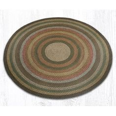 EarthRugs Round Braided Fir/Ivory Area Rug Rug Size: Round 4'