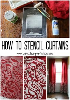 The best DIY projects & DIY ideas and tutorials: sewing, paper craft, DIY. Diy Crafts Ideas How to stencil curtains (or any fabric) -Read Stenciled Curtains, No Sew Curtains, Drop Cloth Curtains, Sunroom Curtains, Roman Curtains, French Curtains, Luxury Curtains, Short Curtains, Yellow Curtains