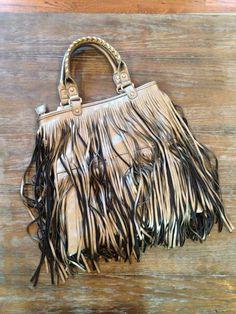 Pewter fringe handbag