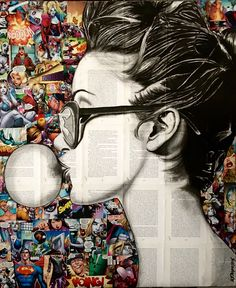 New artwork for sale 'Blow up', ink on newspaper pages on DC's comic collage background, cm. Available on (Link at bio). DM me to buy directly from me. Also available as giclee prints limited edition of Ready to hang,worldwide shipping. Newspaper Canvas, Newspaper Painting, Newspaper Collage, Paper Collage Art, Newspaper Drawing, Newspaper Background, Collage Background, Magazine Collage, Magazine Art