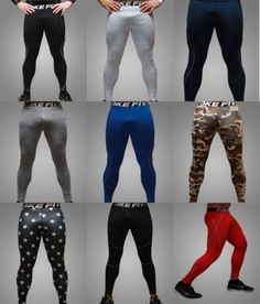 MENS Functional fiber Tight Sports Pants under base layer Leggings Quick-drying