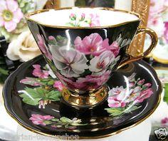 Windsor Tea Cup and Saucer Black Floral Amazing Teacup | eBay