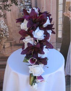 Sangria and White Silk Wedding Bouquet Set. $297.00, via Etsy.