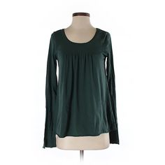 Pre-owned Velvet Long Sleeve T Shirt Size 4: Dark Green Women's Tops (£13) ❤ liked on Polyvore featuring tops, t-shirts, dark green, dark green top, green tee, green long sleeve tee, long sleeve tops and green t shirt