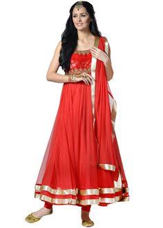 Red net stone embellishment anarkali stitched salwar suit - Kalkifashion.com