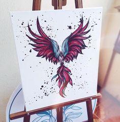 Birds illustrations on t-shirts, sweatshirts, paper and canvas. Vogelillustrationen auf T-Shirts, Sweatshirts, Papier und Leinwand. Phoenix Tattoo Feminine, Phoenix Bird Tattoos, Phoenix Tattoo Design, Tattoo Sketches, Tattoo Drawings, Body Art Tattoos, Small Tattoos, Tattoo Calf, Back Tattoo