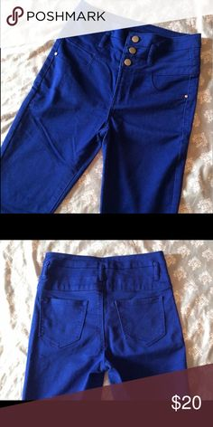 "Blue High Waisted Jeans Only worn once. 60% cotton, 38% polyester, 2% spandex. No stains. Great condition... only thing wrong is the ""Refugee"" tag is starting to come off other than that they are perfect. Charlotte Russe Jeans Skinny"