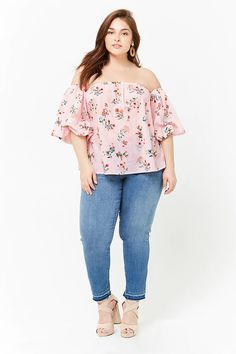Plus Size Striped Floral Off-the-Shoulder Crop Top | Forever21