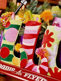 Felted Stockings (i like the striped idea here)