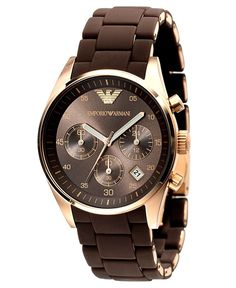 Emporio Armani Sportivo Women's Quartz Watch with Brown Dial Chronograph Display and Brown Stainless Steel Strap AR5891: Emporio Armani: Amazon.co.uk: Watches