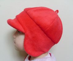 Toddler fleece winter hat with visor and ear flaps - red -  READY TO SHIP on Etsy, $20.00