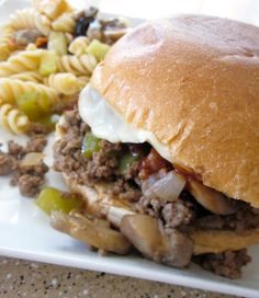 Philly Cheesesteak Sloppy Joes. Easily made low sodium with unsalted beef stock and less steak sauce