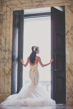 Blogger Bride Extra-Petite's lace mermaid style wedding dress: http://www.stylemepretty.com/2015/12/03/blogger-bride-extra-petite-vintage-inspired-wedding-at-the-boston-public-library/ | Photography: Katch Studios - http://www.katchstudios.com/