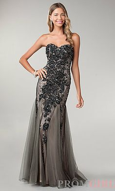 Strapless Sweetheart Floor Length Lace Embellished Dress at PromGirl.com