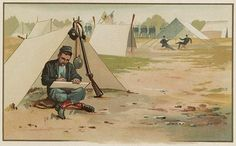 "Illustration: Union soldier drawing in front of his tent, by C. W. Reed and Louis K. Harlow. Credit: Library of Congress, Prints and Photographs Division. Read more on the GenealogyBank blog: ""Union Soldier Describes Daily Life in Civil War Camp."" https://blog.genealogybank.com/union-soldier-describes-daily-life-in-civil-war-camp.html"