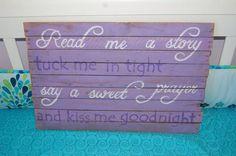 Purple nursery pallet/wood wall art tuck me in kiss by MissAriMay