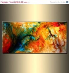 Abstract Painting Original Abstract painting by newwaveartgallery, $435.00