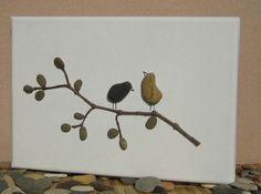 Pebble Art Love Birds, Romantic gift for couple, 3D Art, New home housewarming…