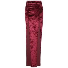Boohoo Reese Velvet Extreme Double Split Maxi Skirt ($16) ❤ liked on Polyvore featuring skirts, red midi skirt, red maxi skirt, long red maxi skirt, midi maxi skirt and red pleated maxi skirt