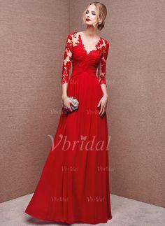 Abendkleider - $139.05 - A-Linie/Princess-Linie V-Ausschnitt Bodenlang Chiffon Tüll Abendkleid mit Applikationen Spitze (0175093835)
